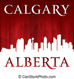 alberta, achtergrond, skyline, stad, calgary, rood, canada, silhouette