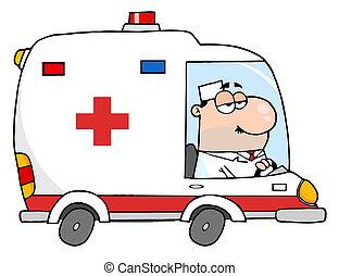 ambulance, arts, geleider