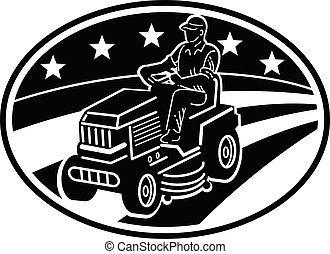 amerikaan, witte , het maaien, ride-on, tuinman, retro, black , grasmaaimachine