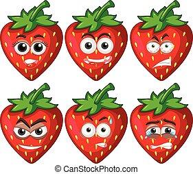 anders, aardbeien, zes, emoties