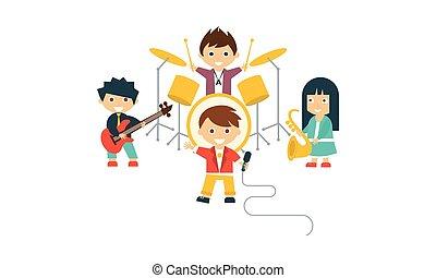 anders, geitjes, instrumenten, zinger, guitarist, illustratie, kinderen, vector, muziekband, drummer, saxophonist, spelend