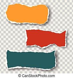 anders, gescheurd, drie, vrijstaand, papier, kleuren, achtergrond, bladen, infographics, suitable, transparant, schaduw