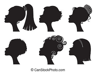 anders, -, gezicht, silhouettes, vector, black , hairstyles, vrouwen