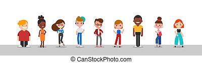 anders, groep, mensen, karakter, illustration.