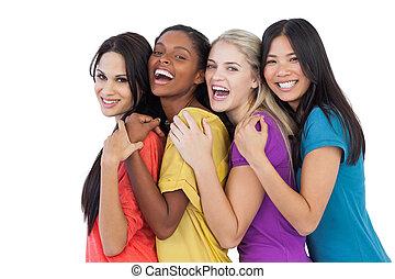 anders, lachen, fototoestel, vrouwen, omhelzen, jonge