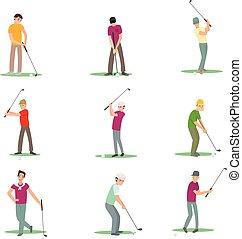 anders, set, golf, isoleren, spelers, achtergrond, witte