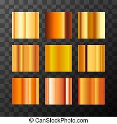 anders, set, goud, swatches, metaal, groot, achtergrond, gradients, transparant