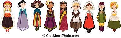 anders, set, land, nationale, meiden, karakters, kleren