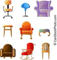 anders, set, stoelen, vrijstaand, comfortabel, witte , kleurrijke, types