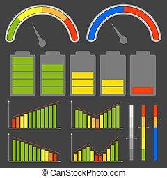 anders, vector, set, niveau, indicators., images.