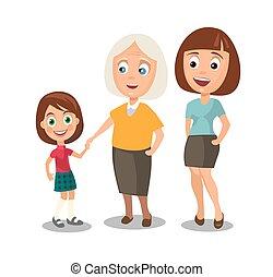 anders, vrouw, leeftijden, set, grootmoeder., kind, generaties