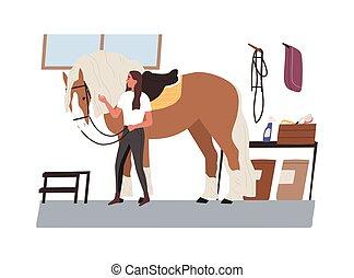 animal., vector, pet., stable., horsewoman, care, mare., het kijken, jonge, illustratie, equestrienne, plat, spotprent, paarde, boeiend, jockey, huiselijk, na, stijl, vrouw, purebred