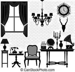 antiek oude, kamer, zaal, meubel