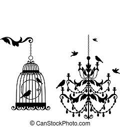 antieke , birdcage, kroonluchter