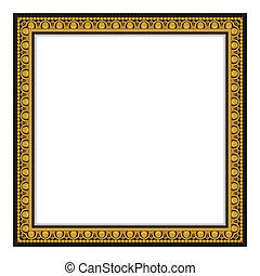 antieke , frame, vrijstaand, goud, whit