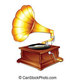 antieke , gramaphone