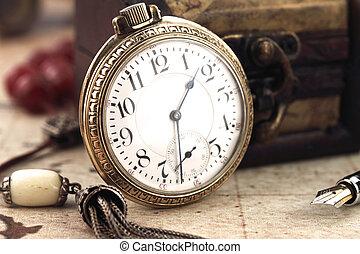 antieke , versiering, klok, zak, voorwerpen, retro