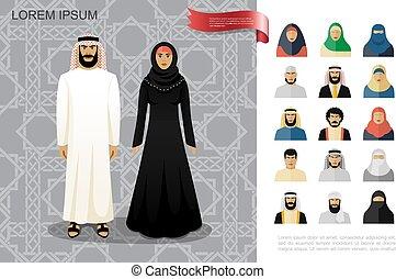 arabier, plat, concept, kleurrijke, mensen
