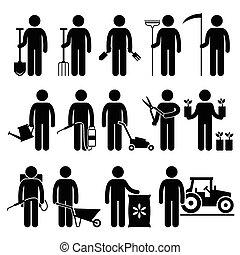 arbeider, tuinieren, tuinman, gereedschap, man
