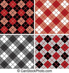 argyle-plaid, black-red, model