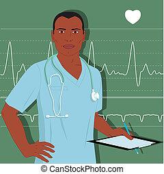 arts, mannelijke , verpleegkundige, of