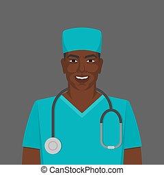 arts, medic, mannelijke , zwarte stethoscope, man