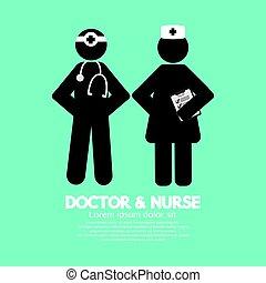 arts, symbool, illustratie, vector, black , verpleegkundige