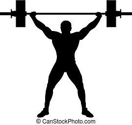 atleet, heftoestel, gewicht