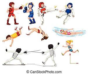 atleten, set, sportende