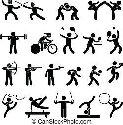 atletisch, spel, binnen, sportende, pictogram