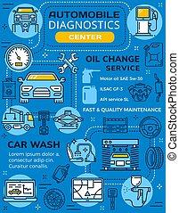 auto, diagnostiek, onderhoud, infographics