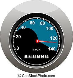 auto, het tonen, iemand, snelheidsmeter, speeding