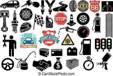 auto, iconen, verzameling