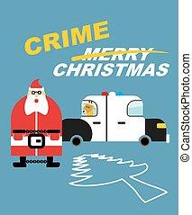 auto., politie, claus, nieuw, boompje, pavement., slecht, hechtenis, silhouette, handcuffs., doden, zit, kerels, year., misdaad, karakter, hertje, krijt, jaren, kerstmis., geschetste, boom., kerstmis, kerstman