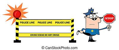 auto, politieman
