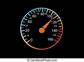 auto, speedometers, zwarte achtergrond