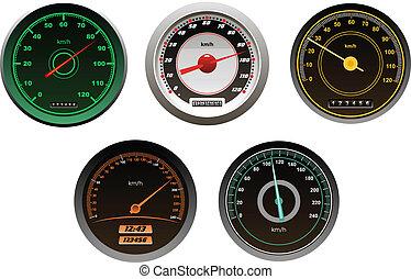 auto's, speedometers, set, het snelen