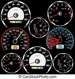 autosport, speedometers, set, design.