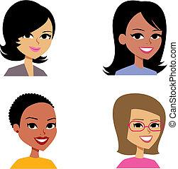 avatar, vrouwen, spotprent, portret illustratie