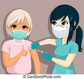 aziaat, vaccinating, vrouw, ouder, verpleegkundige