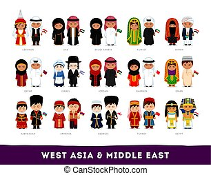 aziaten, west, nationale, clothes., middelbare , azie, east.