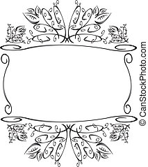b, &, frame, w, floral, bladeren