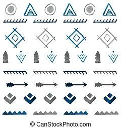b, van een stam, pattern., seamless, hand, watercolor, ethnische , getrokken, abstract