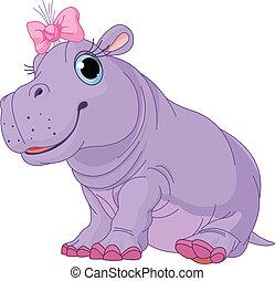 baby meisje, spotprent, nijlpaard