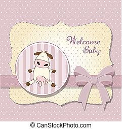 baby stortbad, meisje, delicaat, kaart
