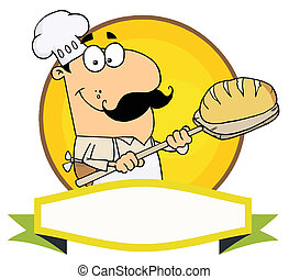 bakker, kaukasisch, vasthouden, brood