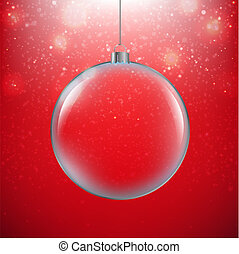 bal, kerstmis, achtergrond, rood