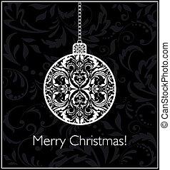 bal, ouderwetse , black , hangend, witte kerst, kaart