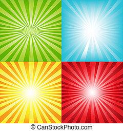 balken, helder, zonnestraal, achtergrond, sterretjes