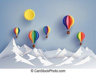 balloon, berg, lucht, warme
